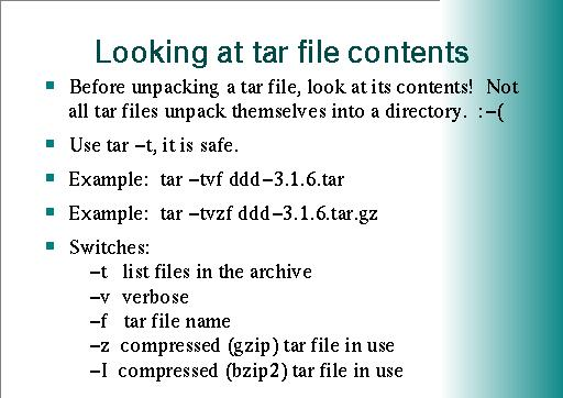 Looking at tar file contents